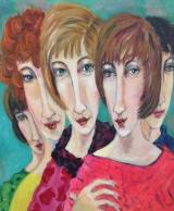 """Gerda van Dieren, acryl """"vriendinnen"""" afm. 50 x 60 cm."""
