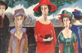 "Gerda van Dieren, acryl ""roddels IV"" afm. 100 x 120 cm."