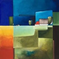 """Marius Dorgelo, gouache """"landschap X"""" afm. 40 x 40 cm."""