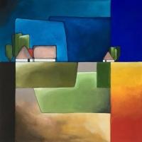"""Marius Dorgelo, gouache """"landschap XI"""" afm. 40 x 40 cm."""