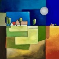 """Marius Dorgelo, gouache """"landschap XII"""" afm. 40 x 40 cm."""