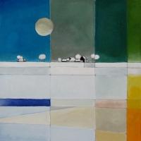 """Marius Dorgelo, gouache """"winterlandschap"""" afm. 40 x 40 cm."""